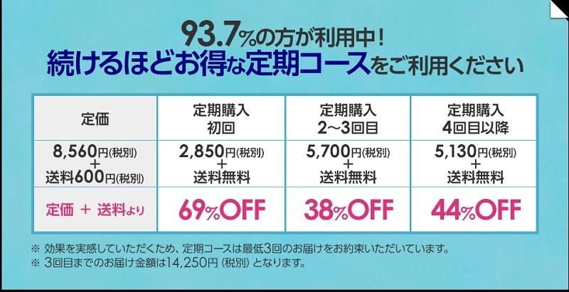ラポマインの公式サイトで定期購入した時の値段の画像